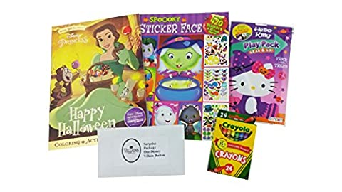 """Halloween Bundle Gift for Girls   5 Items: """"Happy Halloween Coloring"""" Color book, """"Spooky Sticker Face"""" 420 Stickers & 32 Pages, Hello Kitty Play Pack, 16 Crayola Crayons & Disney Villain (Disney Pin Grab Bag)"""