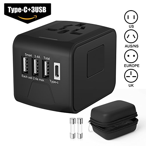 Flowerus International Travel Adapter, Worldwide All in One Universal Travel Adapter Power...