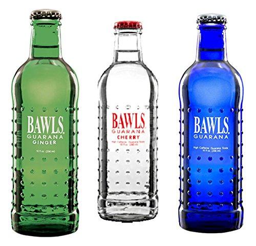 Bawls Guarana Energy Drinks 6 - 10oz Glass Bottles (3 Flavor Variety Pack)