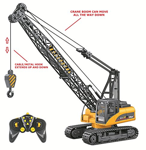 Hook Single Crane (Top Race 15 Channel Remote Control Crane, Proffesional Series, 1:14 Scale - Battery Powered RC Construction Toy Crane With Heavy Metal Hook (TR-214))