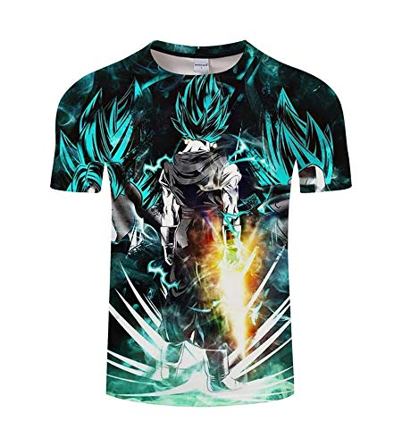 Vegeta T-shirt - ZeroGoo Goku Shirt, 3D Print Anime Cartoon Network Tshirt DBZ Dragon Ball Goku Vegeta Saiyan T Shirt Men Kid Adult Teen (GK-4, M)