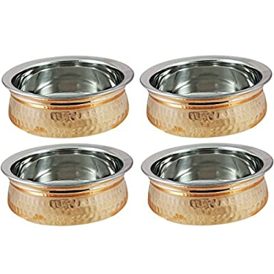 Serving Bowl Set Hammered Copper Stainless Steel Seveware Accessories, Set of 4, Diameter 5 Inch