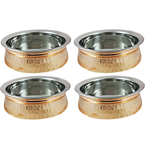 Set of 4, Copper Tableware Serving Bowl Indian Serveware Set, Diameter 6 Inches by RoyaltyLane (Copper Indian Ware compare prices)