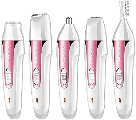 JFJL La Eliminación del Vello para Mujeres 5 En 1 Sin Dolor Recargable Razors A Prueba De Agua Afeitadoras para La Cara/Piernas / Brazos/Cejas / Nariz/Bikini Trimmer Body Shaver para Damas,Pink: Amazon.es: