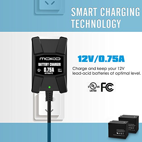 MoKo Smart Battery Charger / Maintainer for 12V Lead Acid Batteries, Automotive, Motorcycles, Lawn Mower, Cars, Boats, ATVs, UTVs, Snowmobiles etc., with Fused Terminal Leads and Indicator