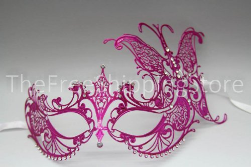[Majestic Pink Butterfly Princess Venetian Masquerade Mask with Diamonds] (Venetian Mask Points)