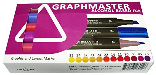 Graphmaster Grafikmarker 12er 12 Set C Yellow Red Box Grafik Design Marker Pens ()