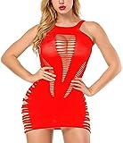 Vorifun Womens Babydoll Hollow Fishnet Lingerie Hot Mini Dress Tube Chemise Bodysuit (Red)