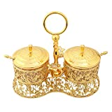 Glass Liner Condiment Pots Set of 2 with Lids and Spoons, XINFANGXIU Seasoning Container Sugar Bowl Berry Jam Spice Jar Cup with Golden Metal Holders for Syrup Cream Salt