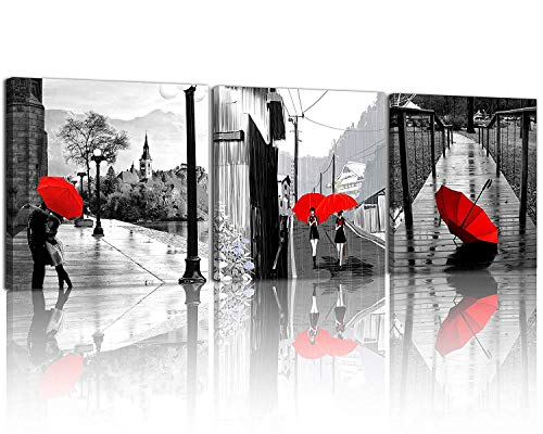 NAN Wind 3 Pcs Modern Giclee Canvas Prints Black and White with Red Umbrellas Romantic Couple Canvas Wall Art Red Landscape Paintings on Canvas Stretched and Framed Ready to Hang for Home Decor