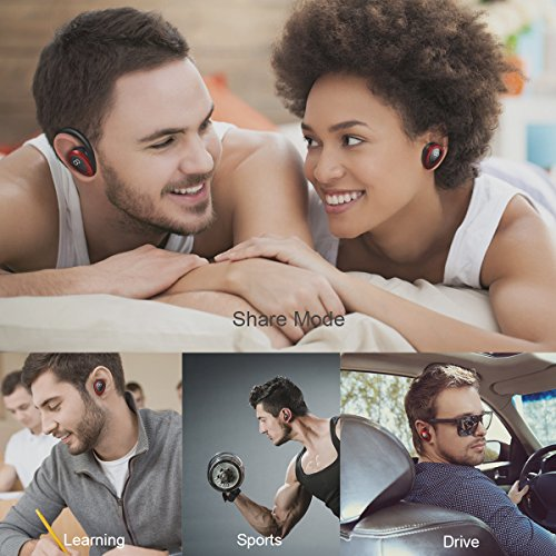 Large Product Image of Bluetooth Headphones, Losei Dual Wireless Earbuds True Mini Twins Stereo Bluetooth Headset V4.1 Earphones with Built-in Mic and Charging Case for iPhone Samsung iPad and Most Android Phones (Red)