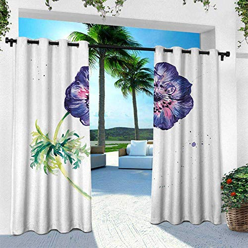 Hengshu Anemone Flower, Balcony Curtains,Branch of Garden Flower with Watercolor Splashes Nature Inspired, W84 x L108 Inch, Purple Pink Green