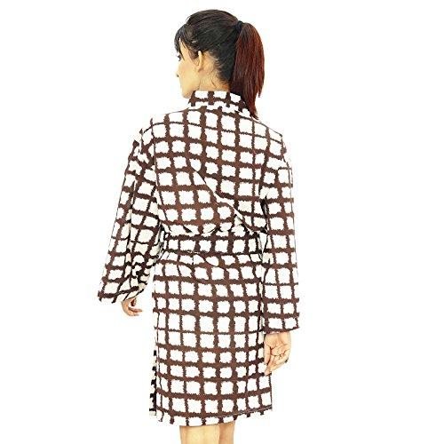 Dama de regalo Preparándose túnica india mujeres del desgaste corta de algodón abrigo del balneario Café y blanco