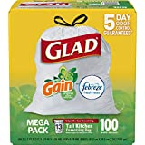 Glad OdorShield Tall Kitchen Drawstring Trash Bags - Gain Original with Febreze Freshness - 13 Gallon - 100 Count