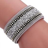 AutumnFall® Women Bohemian Crystal Cowhide Bracelets Wrist Chains (Gray)