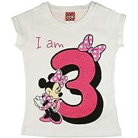 Camiseta de manga corta para niña de 3 años, de algodón, talla 98 y 104, diseño de Minnie Mouse, color blanco o rosa