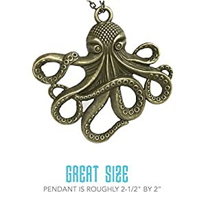 Steampunk Octopus Necklace | Victorian Style, Antique Finish Handmade Pirate Accessory