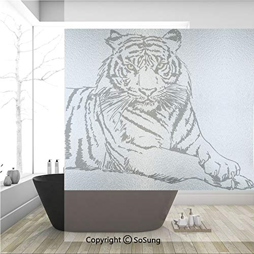 (3D Decorative Privacy Window Films,Sketch of A Posing Tiger Sharp Eyes Largest Cat Species Dark Vertical Stripes Art,No-Glue Self Static Cling Glass film for Home Bedroom Bathroom Kitchen Office 36x36 )