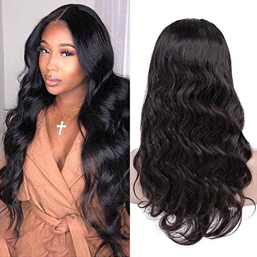 QinMei Body Wave Lace Front Wigs Human Hair Wigs 18inch 100% Unprocessed Brazilian Virgin Remy Human Hair Lace Frontal Wig For Black Women Pre Plucked Natural Hairline with Baby Hair (18