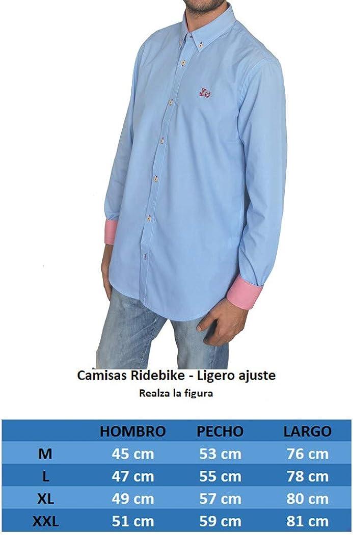 Ridebike Camisa Azul con Fino Estampado Vespa   Diseño de los Puños a Juego con el Cuello (1751)