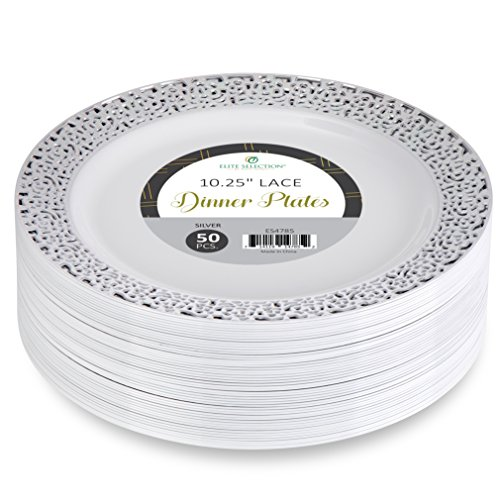 Elite Selection Pack Of 50 Dinner Disposable Plastic Plates White Color With Silver Lace Rim 10.25 Inch