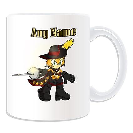 De regalo con mensaje personalizado - taza de desayuno de gato mosquetero (molde para hacer
