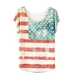 Sinfu Printed Loose Women Short Sleeve Colorful Printing Blouse Casual T-shirt Tops (B)