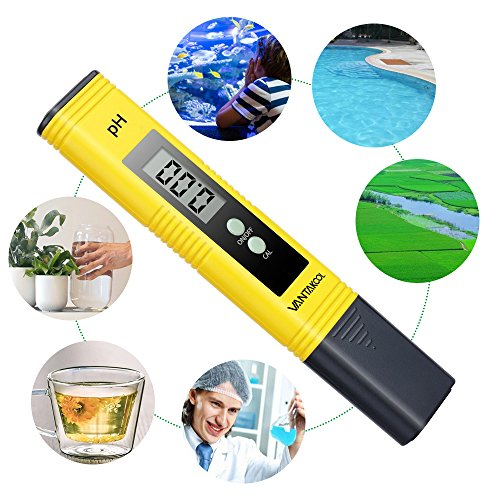 Digital PH Meter, VANTAKOOL PH Meter 0.01 PH High Accuracy Water Quality Tester with 0-14 PH Measurement Range for Household Drinking, Pool and Aquarium Water PH Tester Design with ATC (yellow)