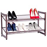 Cypress Shop Metal Shoe Shelf Rack 2 Tiers Wire Mesh Iron Shoes Storage Flip Flop Sandals Any Hoes Organizer Closet Shoe Floor Stand Shelving Unit Entryway Hallway Doorway Home Office Furniture