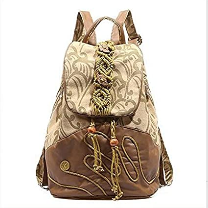 Women Bags Polyester Cotton Backpack Sashes  Ribbons Tassel for Casual All  Season Khaki f9fea27be8