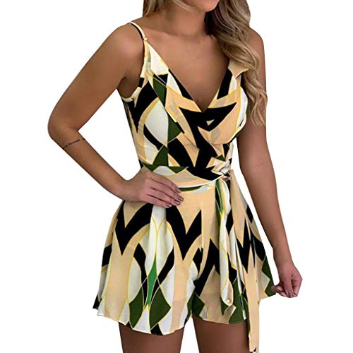 Womens Print Clubwear, Ladies Sexy Bandage Sleeveless Wide Leg Playsuit Casual Fun Loose Outfit Jumpsuit ❤️Sumeimiya Yellow ()