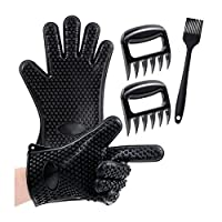 3 in 1 bbq Set: The Silicone BBQ/Cooking Gloves Plus The Meat Shredder Plus Superior Value Premium Set.