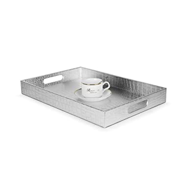 Beautiful Modern Silver 18 x12  Rectangle Glossy Alligator Croc Decorative Ottoman Coffee Table Perfume Living Dining Room Kitchen Serving Tray with Handles by Home Redefined for All Occasions
