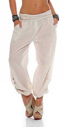 Malito Damen Hose leicht   Stoffhose in Uni Farben   Freizeithose für den  Strand   Sommerhose fefc682258