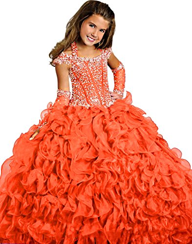 Y&C Girls Halter Chest Full Crystal Ball Gown Floor Length Pageant dresses (8, Orange)