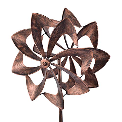 WinWindSpinner 16 Inch Diameter Wind Spinner - Bronze Kinetic Garden Windspinner - Decorative Lawn Ornament Wind Mill - Unique Outdoor Lawn and Garden Décor