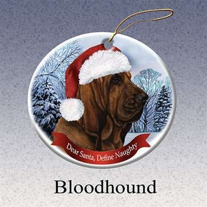 - Holiday Pet Gifts Bloodhound Santa Hat Dog Porcelain Christmas Tree Ornament