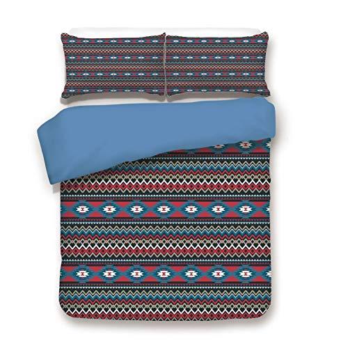 Duvet Cover Set Full Size, Decorative 3 Piece Bedding Set with 2 Pillow Shams,Primitive Style Aztec Folkloric Striped Design Antique Maya Patterns