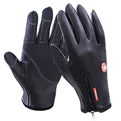 Cycling Gloves, Waterproof Leather Touchscreen in Winter Outdoor Windproof Bike Gloves Fasion Work Gloves Adjustable Size- Black