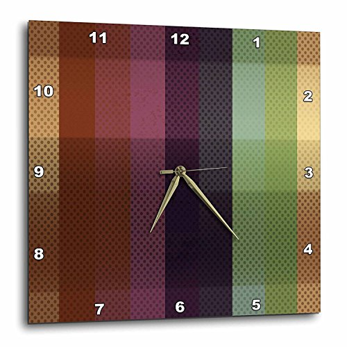 3dRose DPP_213774_2 Blue, Pink, Green, Brown Wide Stripes with Dots Wall Clock, 13 x 13 (Wall Brown Dot Clock)
