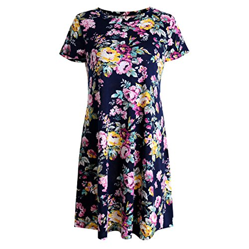 ZKHOECR Floral Print Tshirt Dress for Women Scoop Neck Cap Sleeve Dressy Chic Stylish Pleated Work Stretchy Soft Pattern Tee Trapeze Nice Tops Blouses for Legging Blue M
