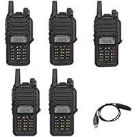 BaoFeng PoFung GT-3WP Dual Band Two-way Radio, Waterproof Dustproof IP67 Walkie Talkie Transceiver, VHF/UHF 136-174/400-520MHz, with Programming Cable, Black, 5 Pack