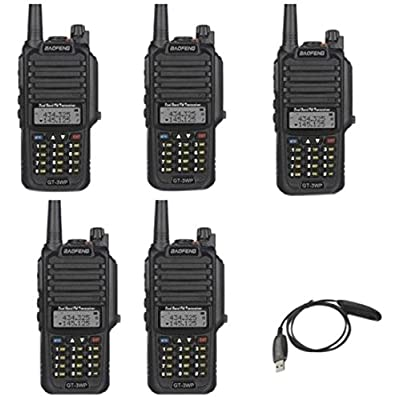 Image of BaoFeng PoFung GT-3WP Dual Band Two-Way Radio, Waterproof Dustproof IP67 Walkie Talkie Transceiver, VHF/UHF 136-174/400-520MHz, with Programming Cable, Black, 5 Pack CB & Two-Way Radios