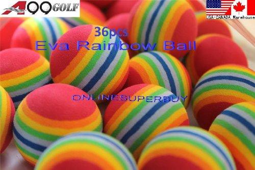 36pcs EVA ball foam ball rainbow practice golf training aids or cat toy by A99 Golf