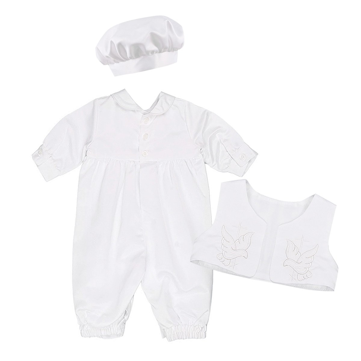 MSemis Infant Baby Boys Girls Baptism Christening Clothes Longall Embroidered Satin Romper with Waistcoat Bonnet Hat Set