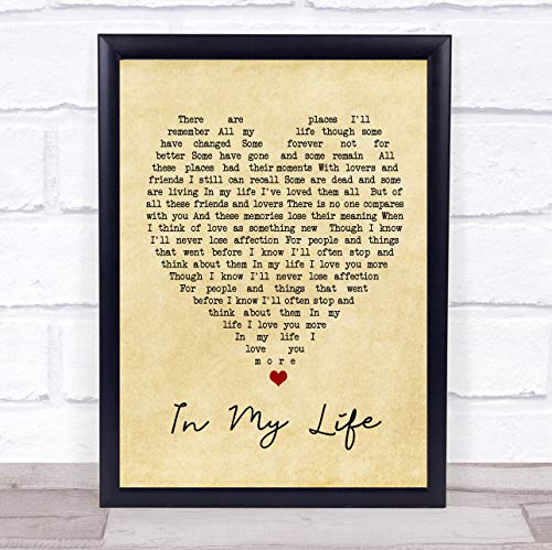 in My Life Vintage Heart Quote Song Lyric Print