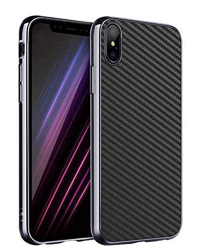 BENTOBEN iPhone Xs Max Case, Super Sleek Flexible Soft TPU Full Body Protective Shock Absorption Carbon Fiber Dustproof Sturdy Grippy Manly Classic Phone Covers for Apple iPhone Xs+ Max/Plus, Black
