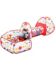 DACHUI Kids Play Tent with Tunnel and Ball Pit with Zippered Storage Bag, Children's Play Tents Playhouse for Baby Indoor Outdoor Playground