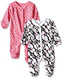 Rosie Pope Baby Newborn Baby Girl's 2 Pack Coveralls, Azalea Pink, 6-9 Months