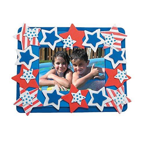 Patriotic Photo Frame Magnet Foam Craft Kit - Crafts for Kids-makes 12 ()